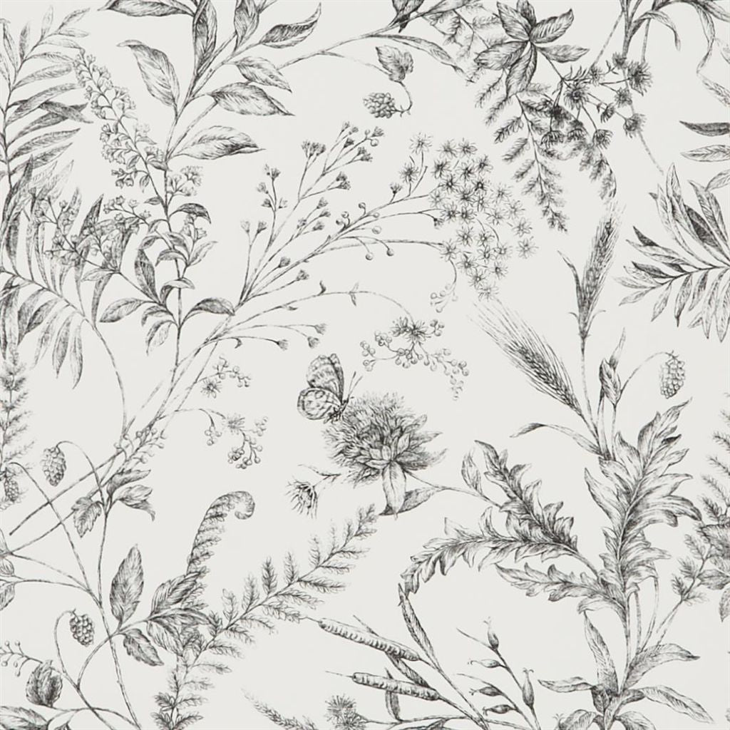 Fern Toile - Etched Black Wallpaper