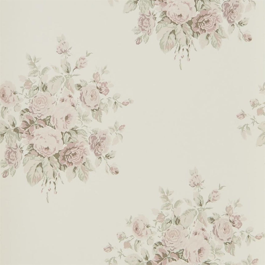 Wainscott Floral - Antique Rose Wallpaper