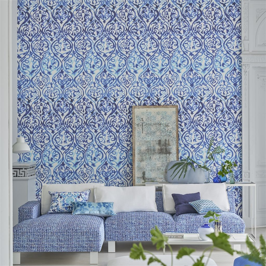 Designers Guild Arabesque Cobalt Wallpaper Wallpaper