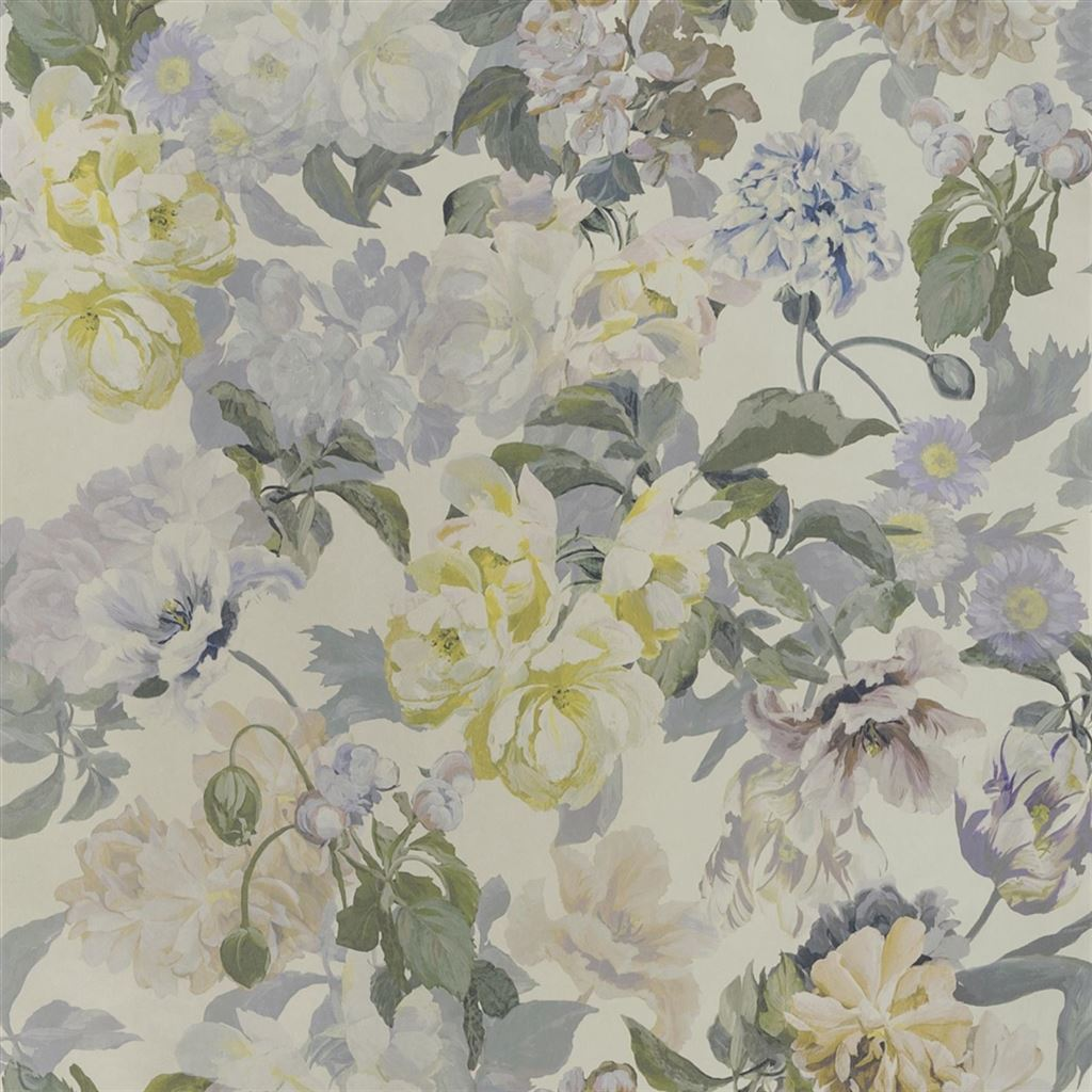 Delft Flower Pewter Wallpaper
