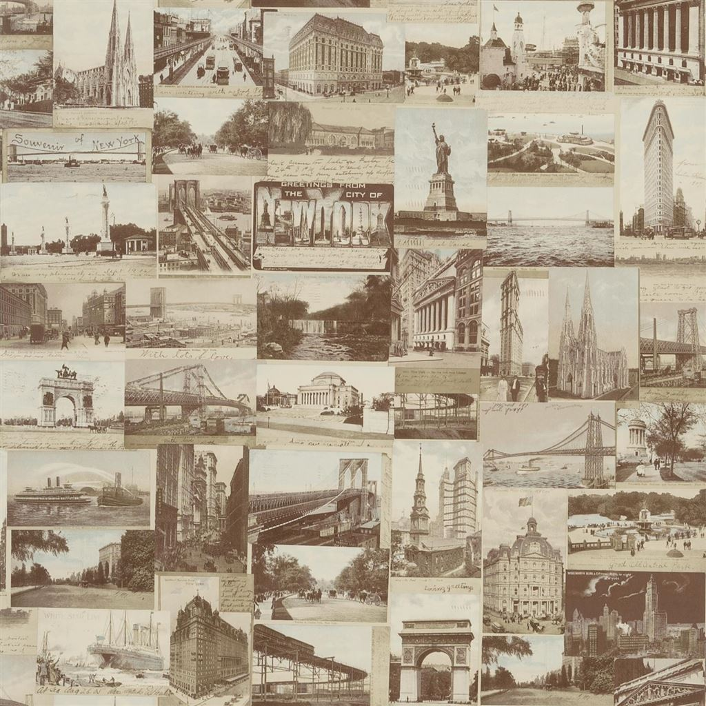New York Postcard Sepia Wallpaper