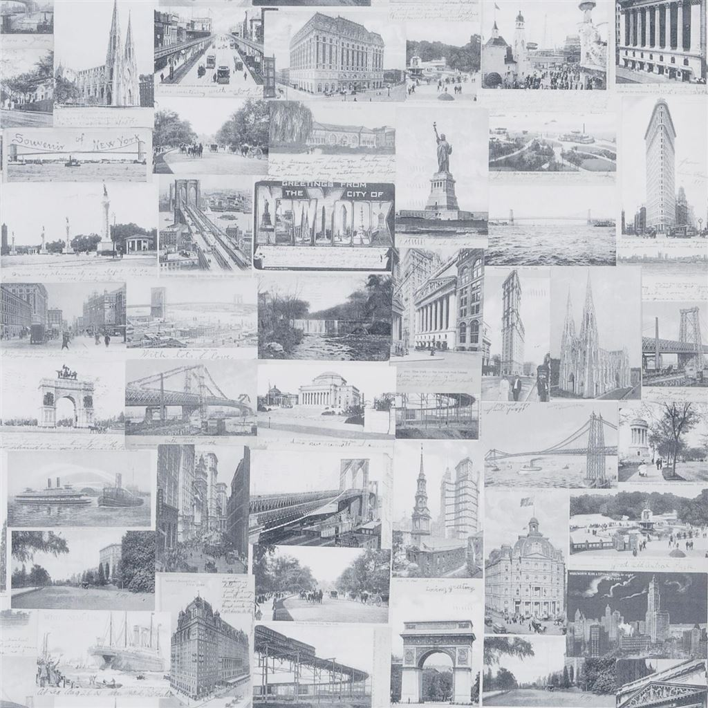 New York Postcard Light Grey Wallpaper