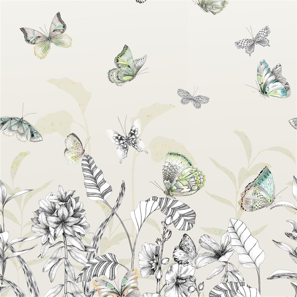 Papillons Birch Wallpaper
