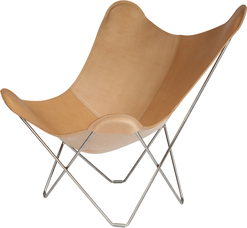 Pampa Mariposa Crude Natural Leather Chair with a Chrome Frame