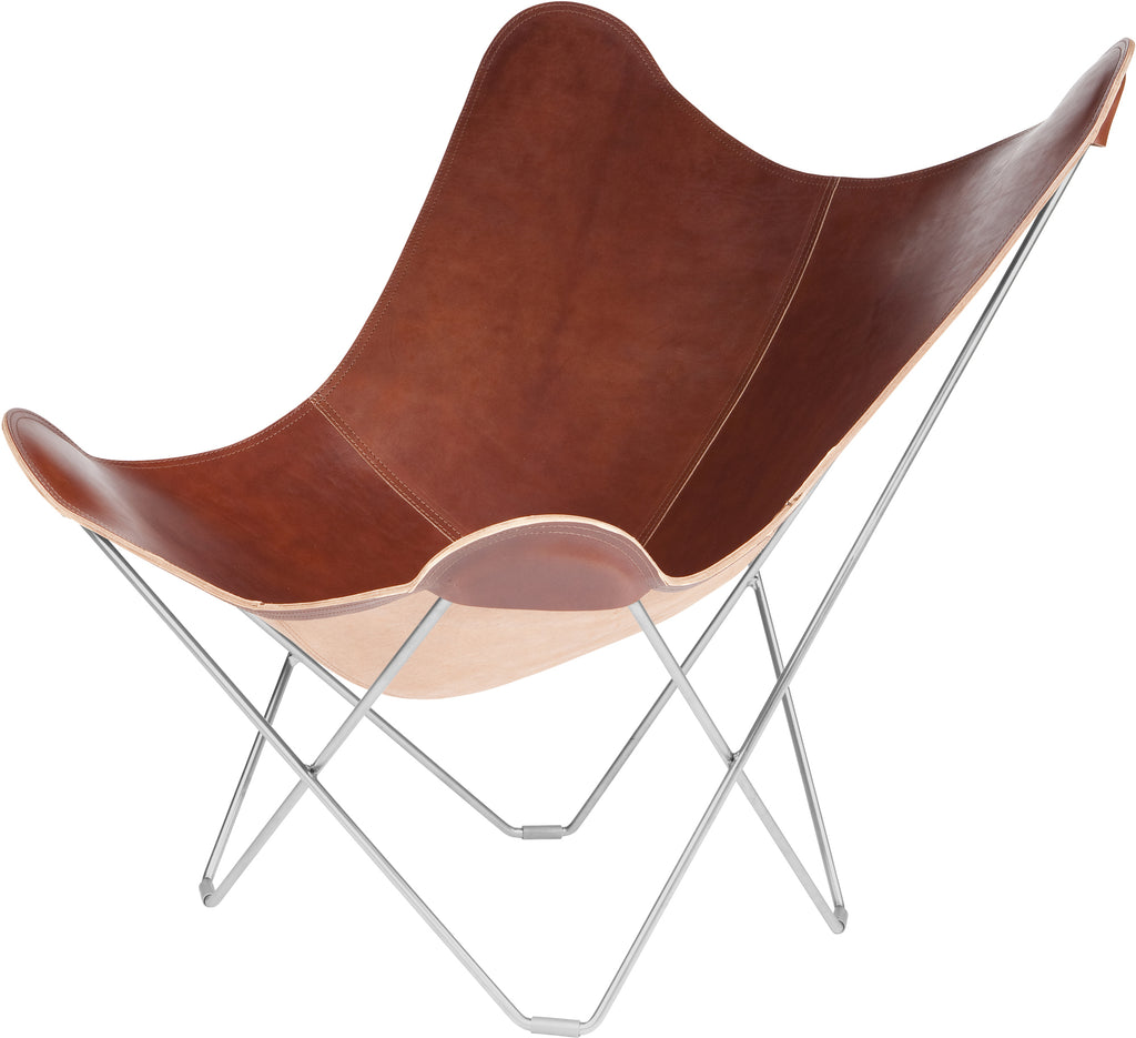 Pampa Mariposa Oak Leather Chair with a Chrome Frame