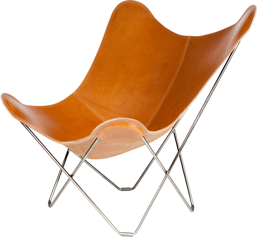Pampa Mariposa Polo Leather Chair with a Chrome Frame