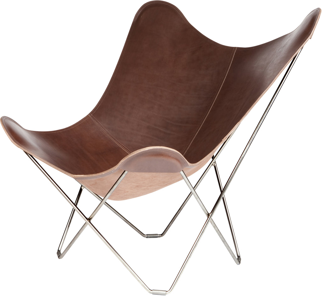 Pampa Mariposa Chocolate Leather Chair with a Chrome Frame