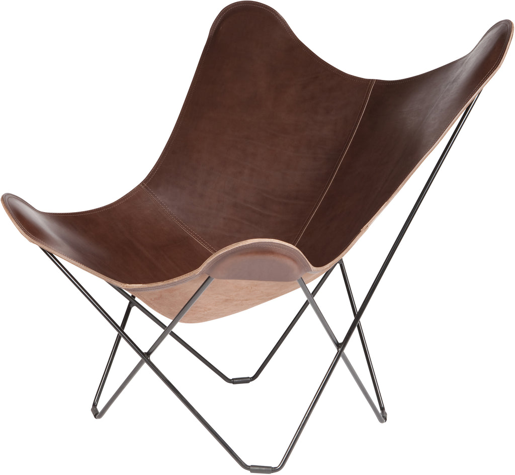 Pampa Mariposa Chocolate Leather Chair with a Black Frame