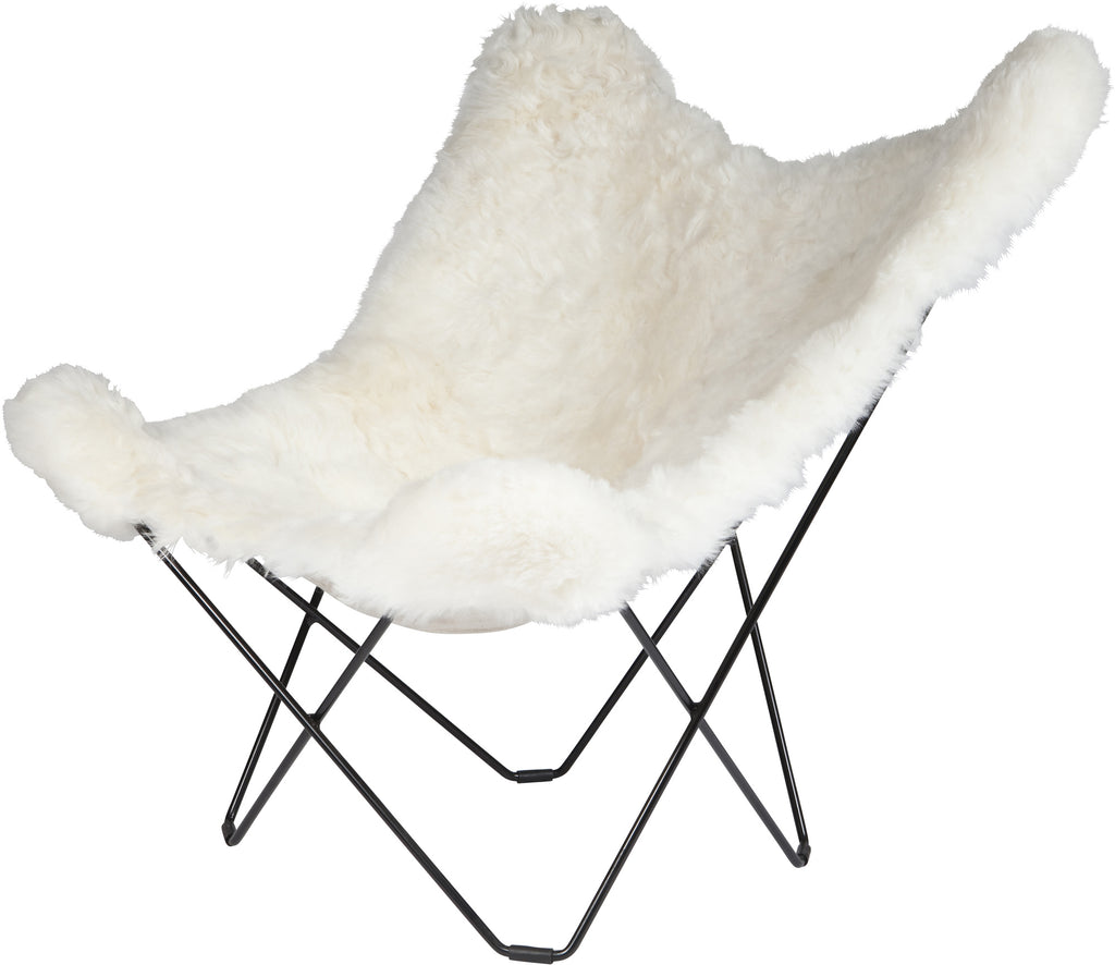 Iceland Mariposa Shorn White Chair with Chrome Frame