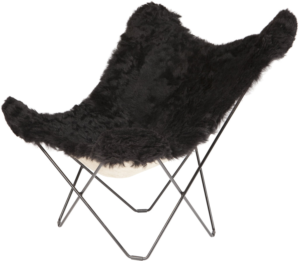 Iceland Mariposa Shorn Black Chair with black Frame