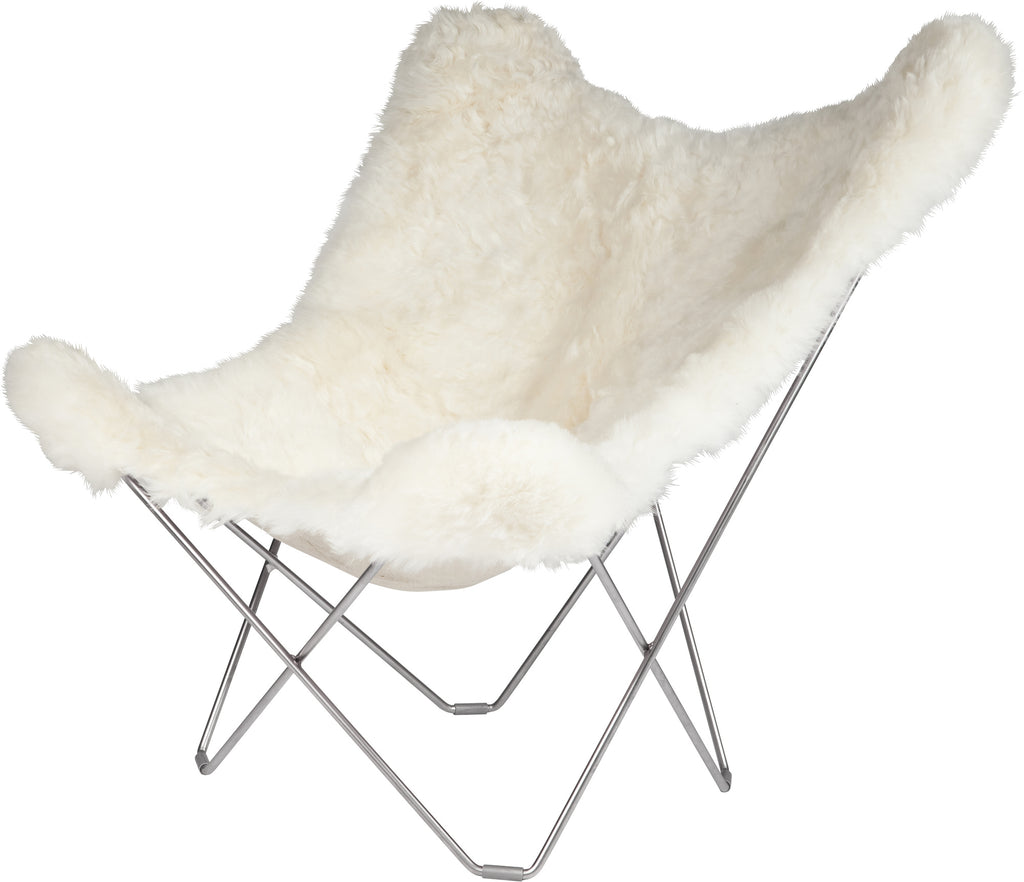 Iceland Mariposa Shorn White Chair with Black Frame