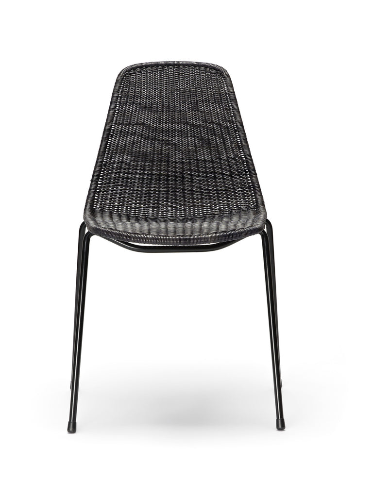 Basket chair (dark grey rattan slimit) front