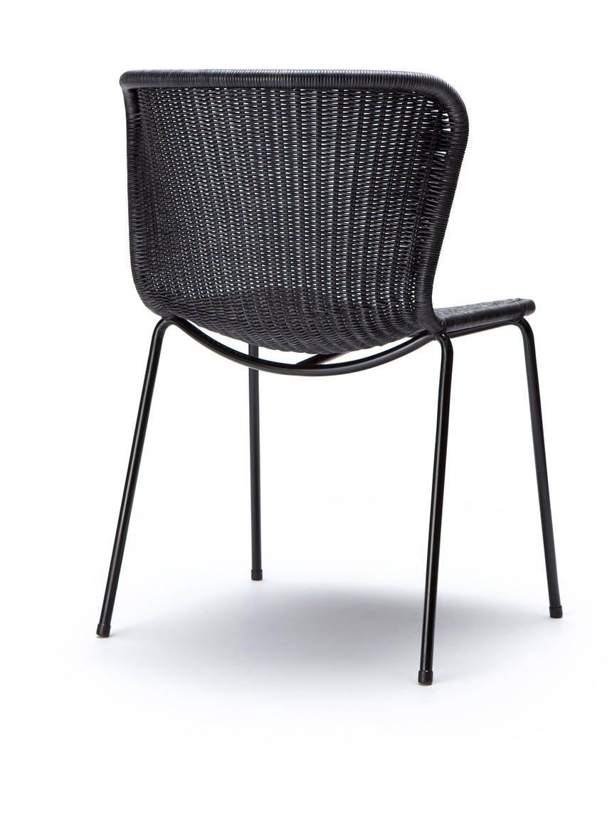 C603 chair indoor (charcoal rattan) back angle