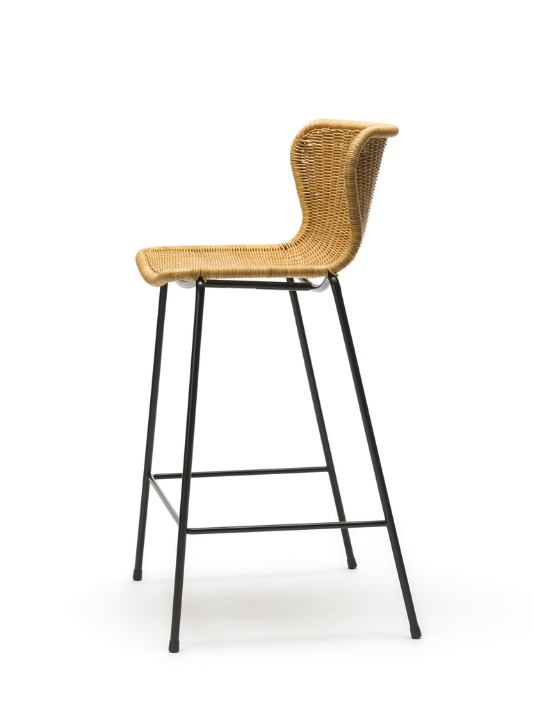 C603 stool indoor (rattan pulut) side angle