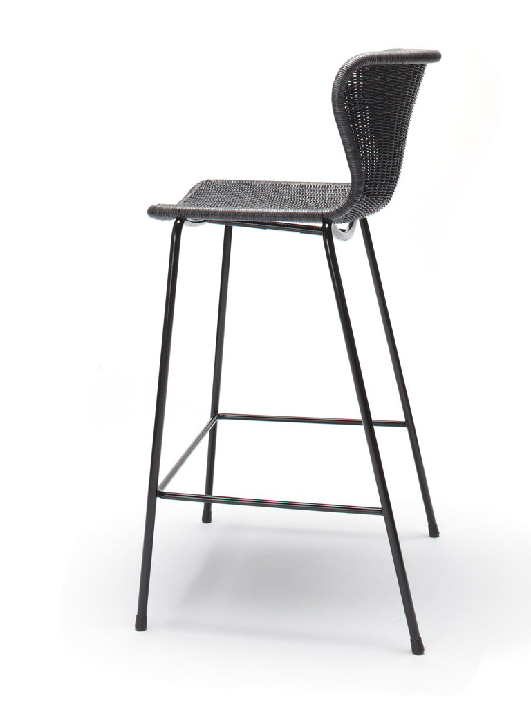 C603 stool indoor (charcoal rattan) back angle