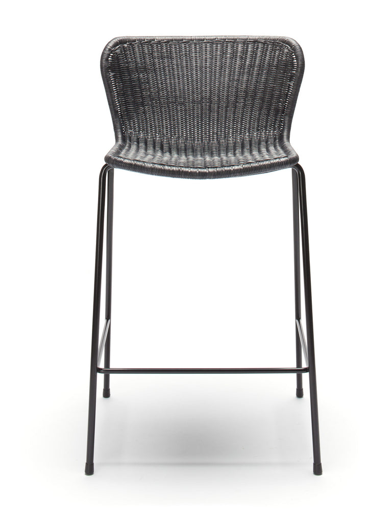 C603 stool indoor (charcoal rattan) front