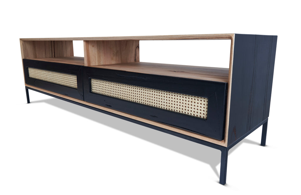 John TV Unit Black with Rattan Drawers from Feliz Home