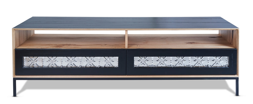 John TV Unit Black with Pressed Metal Drawers from Feliz Home