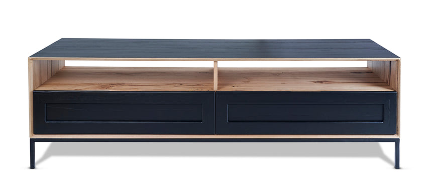 John TV Unit Black with Solid Drawers