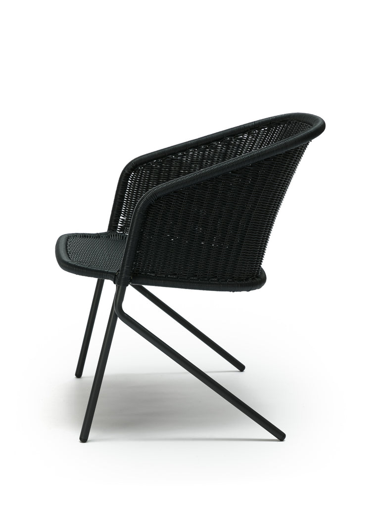 Kakī lounge chair outdoor (charcoal polyethylene) side