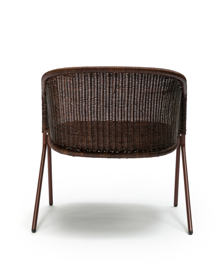 Kakī lounge chair (oxide red frame / rust rattan slimit) back