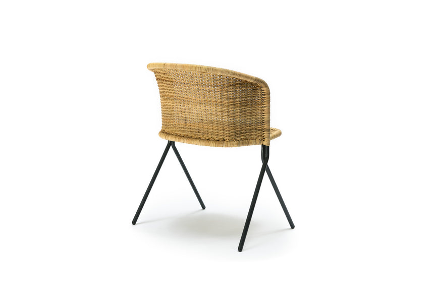 Kakī armchair (natural rattan slimit) back angle