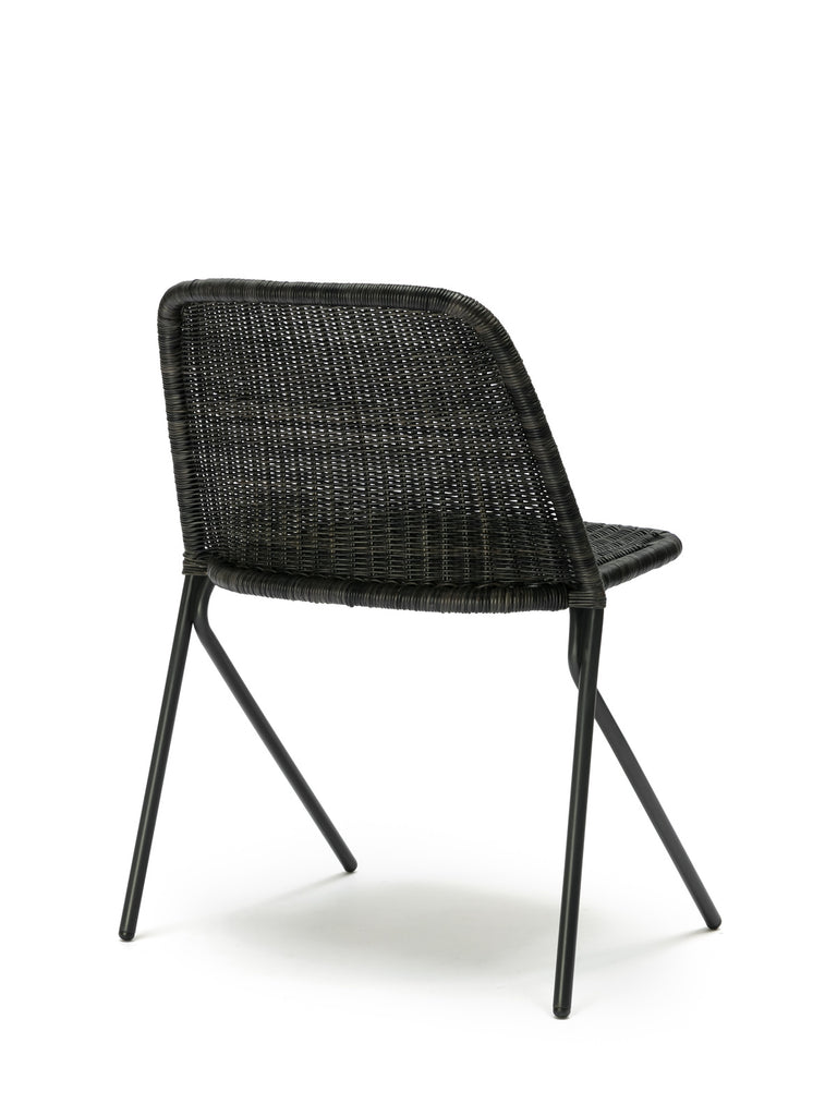 Kakī chair (graphite rattan slimit) back angle