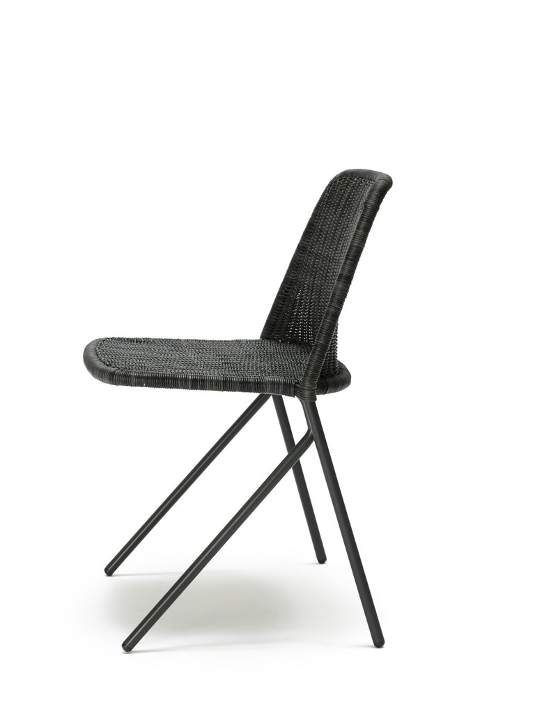Kakī chair (graphite rattan slimit) side