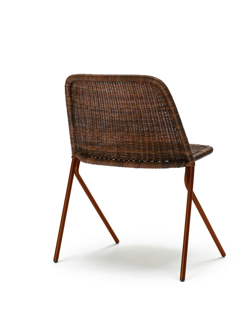 Kakī chair (oxide red frame / rust rattan slimit) back angle