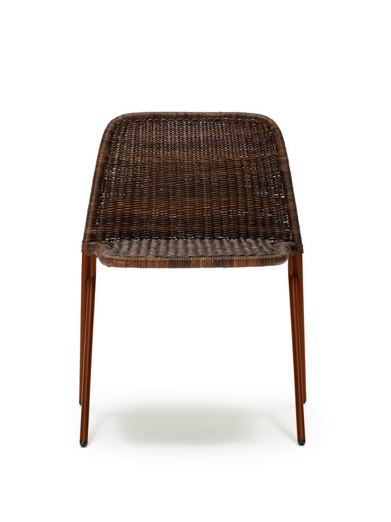 Kakī chair (oxide red frame / rust rattan slimit) front