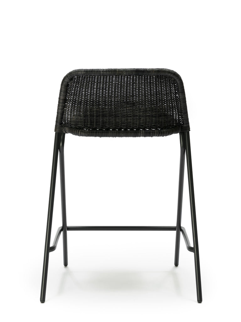Kakī stool with backrest (graphite rattan slimit) back