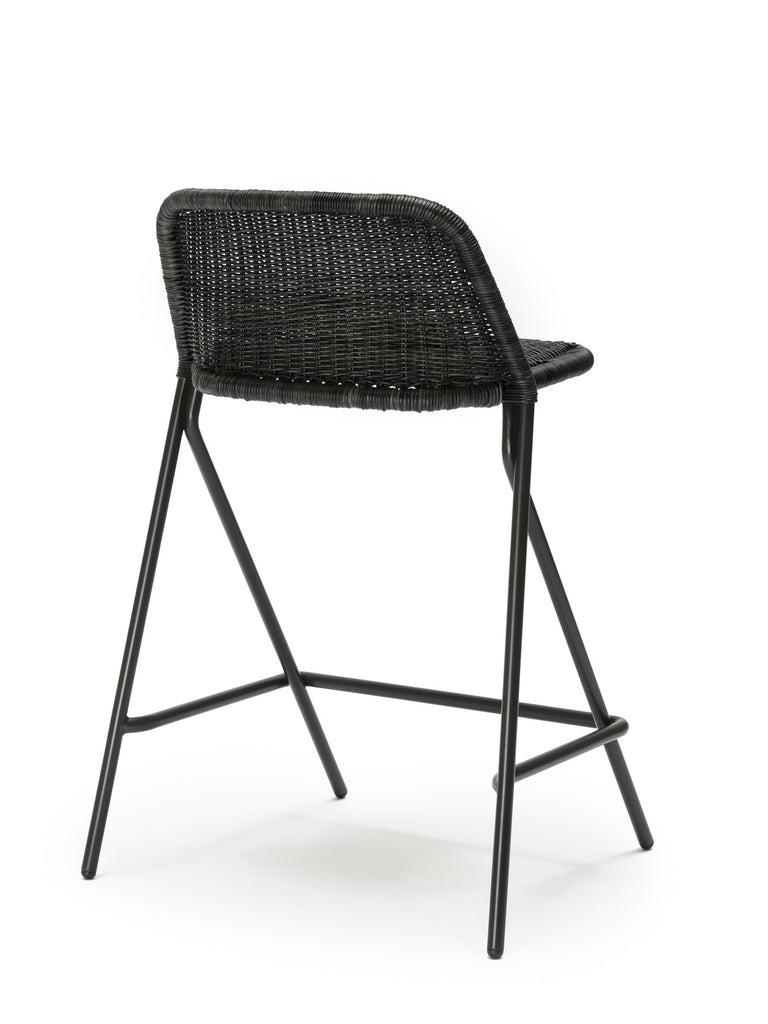 Kakī stool with backrest (graphite rattan slimit) back angle
