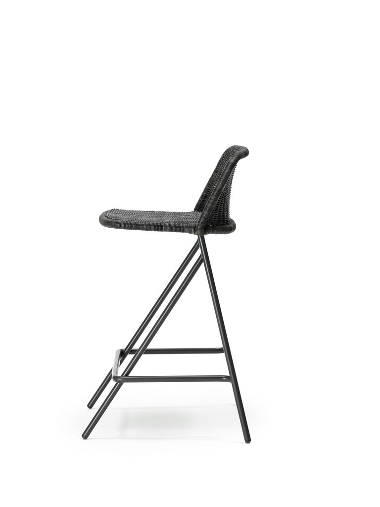Kakī stool with backrest (graphite rattan slimit) side