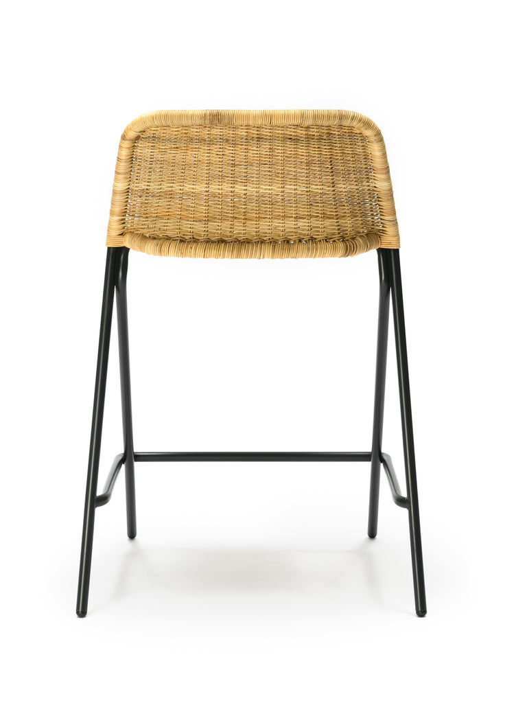Kakī stool with backrest (natural rattan slimit) back