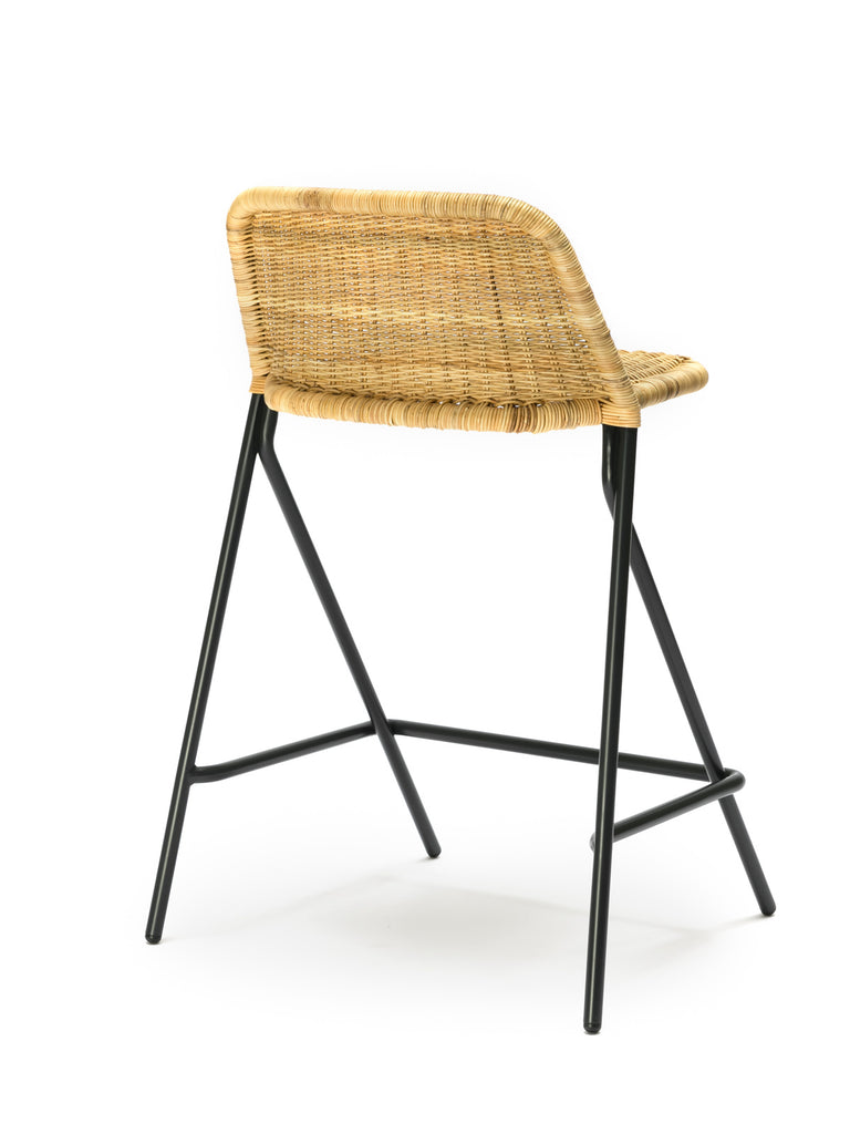 Kakī stool with backrest (natural rattan slimit) back angle