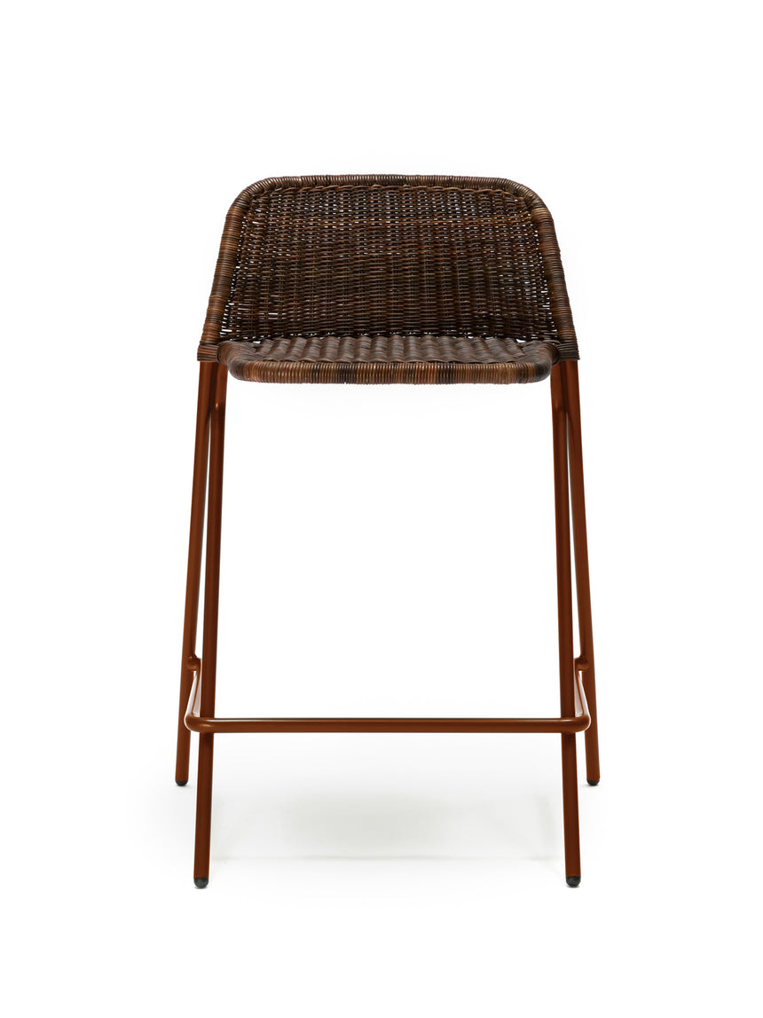 Kakī stool with backrest (oxide red frame / rust rattan slimit) front