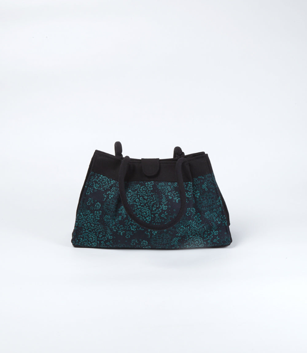 Evening Bag - Black and Deep Turquoise Floral, Cotton