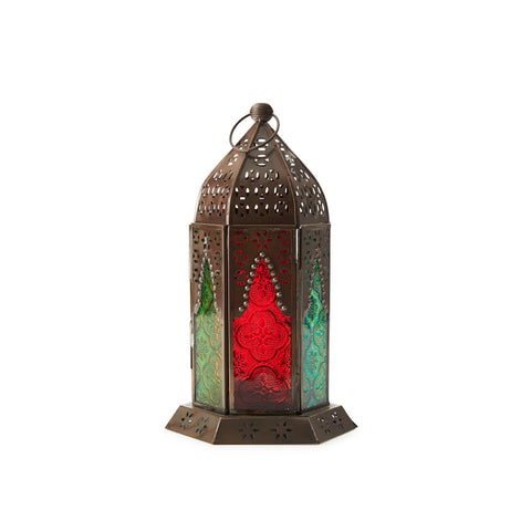 Antiqued Bronze Cutwork U0026 Coloured Glass Lantern