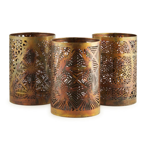 Jali Bronzed Votives, Set Of 3