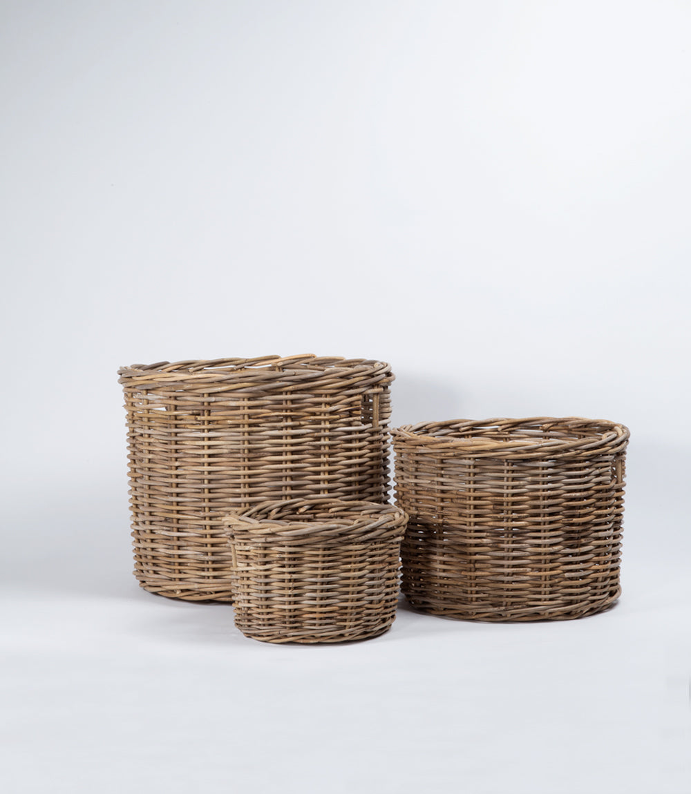 Kubu Rattan - Round Baskets - Set of 3, Nested