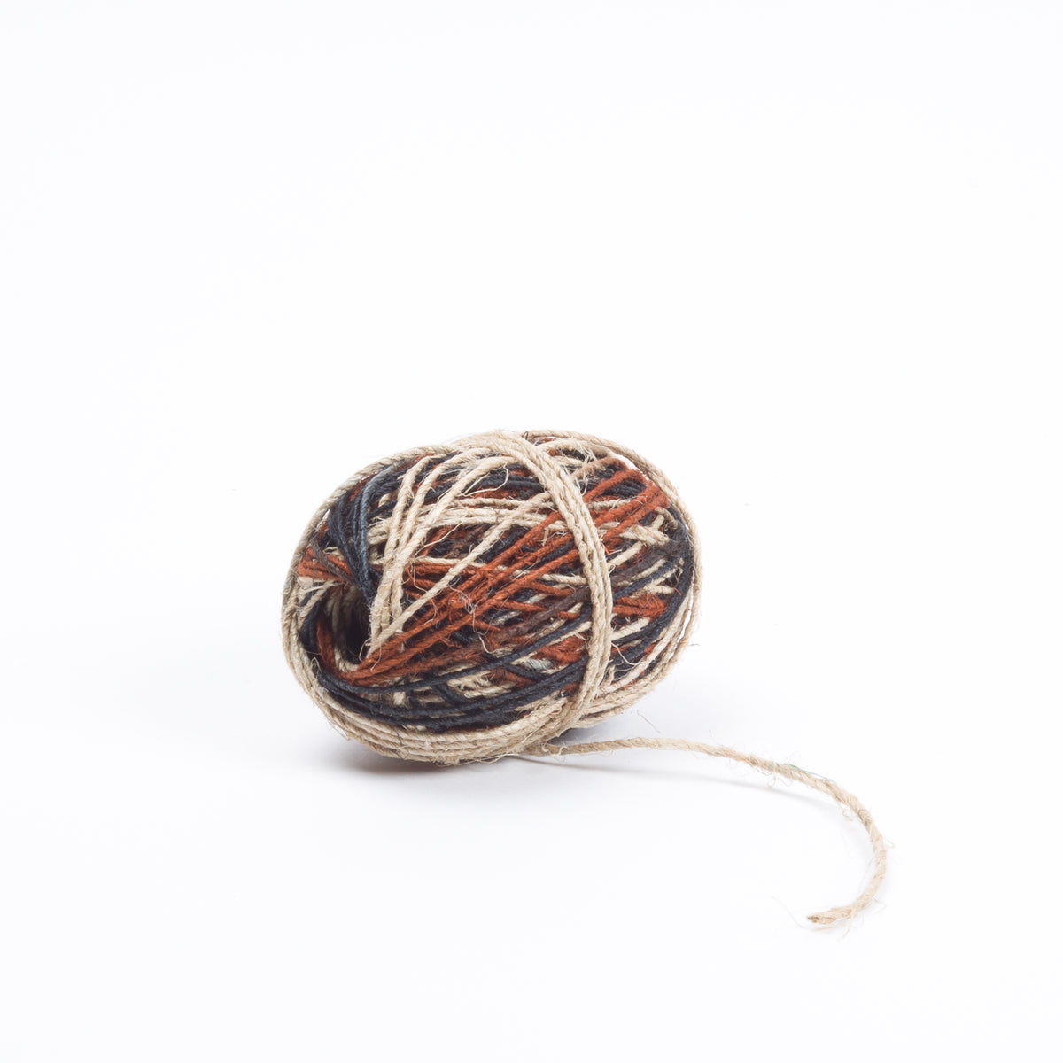 "Particoloured ""Earth"" Hemp Twine, Charcoal, Natural and Brown, 50m"