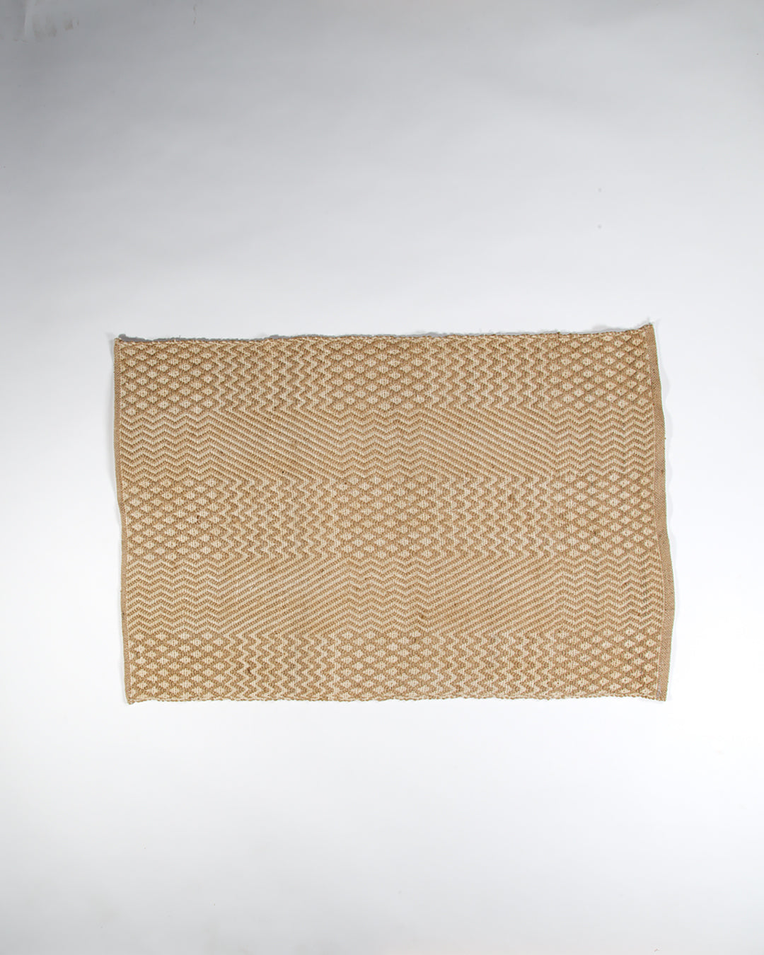 Jute and Cotton Thread Rug, Natural, Multi Pattern, 60x90cm