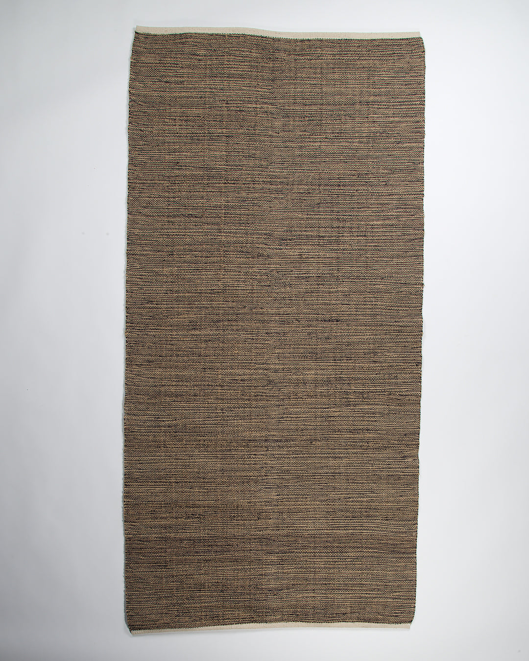 "Jute and Cotton Thread Rug, ""Dreamy"", Natural and Black, 75x150cm"