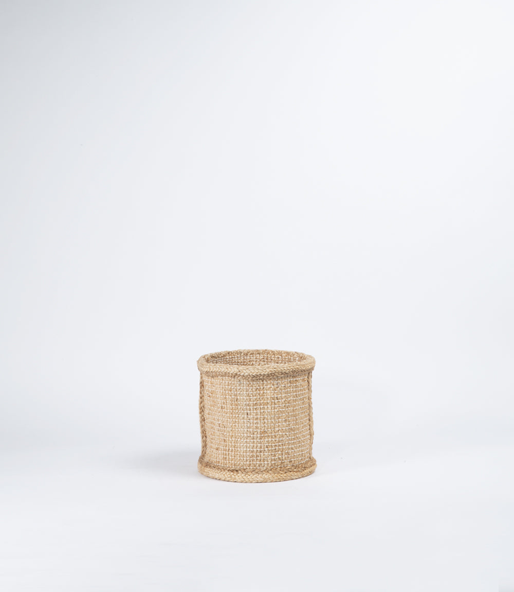 Jute Basket, Natural Hatched Weave, Small #2