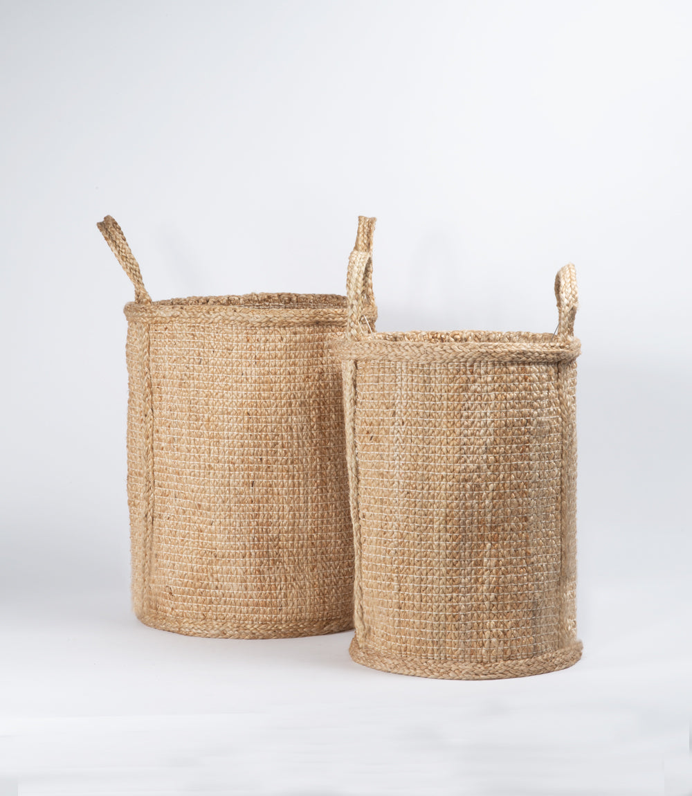 Tall Jute Basket with Handles, Natural Hatched Weave