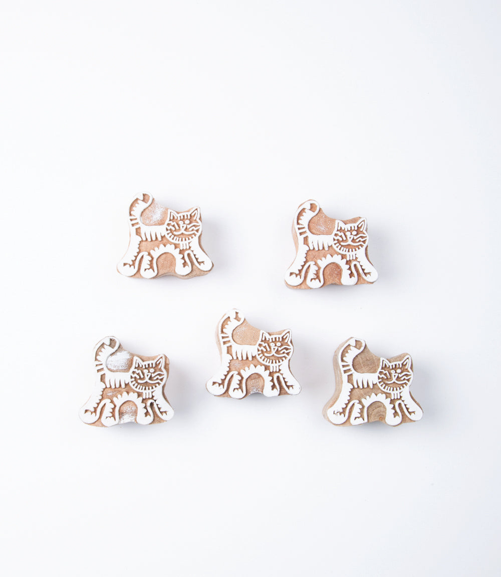Cat Small Wood Print Blocks, Pack of 5
