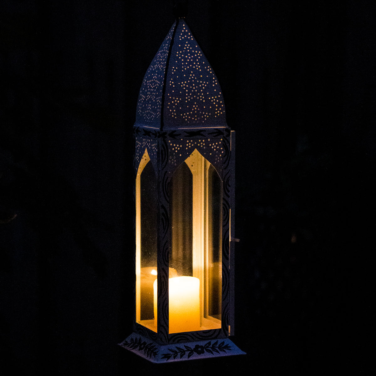 Lantern, Tall Antique White