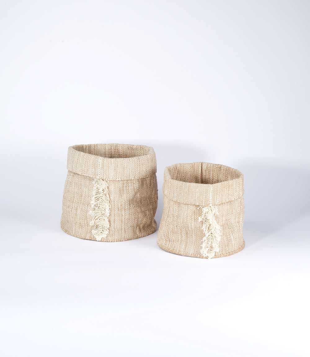 Jute and Cotton Basket, Natural with Folding Fringe, Set of 2