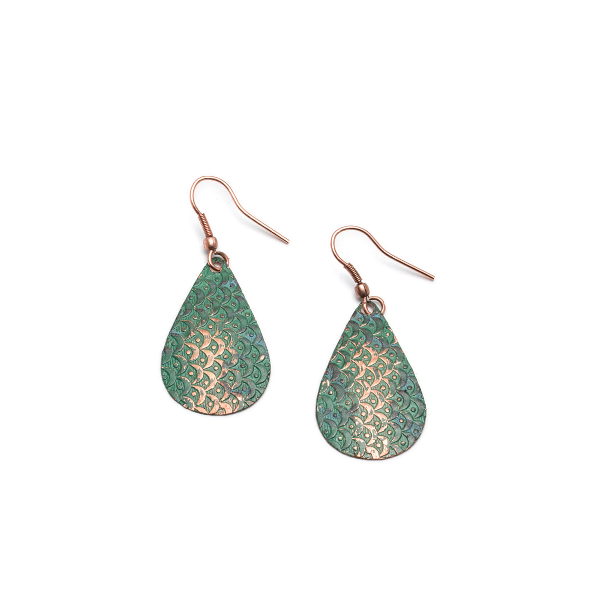 Art Deco Scallop Earrings - Patina