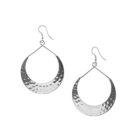Lunar Crescent Earrings - Silver